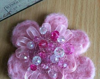 Felted Brooch, Light Pink Flower Brooch, Handmade Felt Brooch, Winter Accessory, Gift For Her, Girl Women Accessory, Wool Jewelry