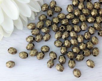 50pc, Bronze Drum Beads, Bronze Spacer Beads, 3x4mm, Faceted Bronze Beads, Small Spacer Beads, Antique Bronze, Spacer Beads, B103