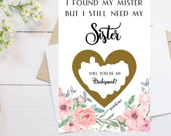 Sister Proposal Card Scratch Off I found my mister but I still need my sister Card, Maid of Honor, Bridesmaid Proposal Card, Blush, Pink