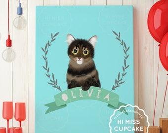 Custom Pet Portrait Illustration / Cat Lover Gift  / Dog Lover Gift / Dog Portrait Custom Pet Portrait / Dog Drawing / DIGITAL FILE (PDF)