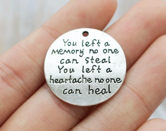 Set of 5, pet memorial charm, pet loss charms, memory charms, pendant charm, disc charms, 24mm round disc, antique silver, metal charms,