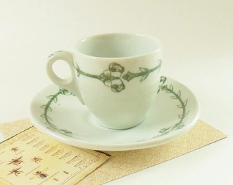 Restaurant Ware Cup and Saucer - Vintage Railroad Weight Warwick Green and White Demitasse Cup and Saucer - Great as Someone's Special Cup