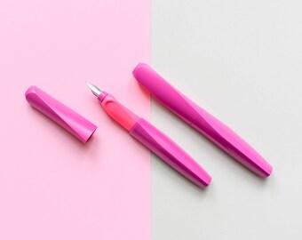 Purple fountain pen, pink Pelikan ink pen, left handers, right handers, German stationery