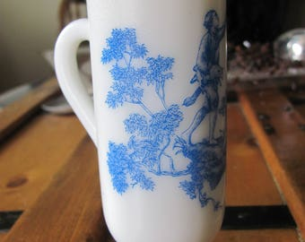Hand Poured Soy Lavender Candle in Milk Glass Holder with Blue Toile Design