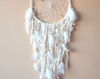 Boho Dream Catcher, Large White Gold Dreamcatcher, Shabby Chic Nursery Wall Decor, Wall Hanging  Bedroom Wall Decor, Nursery Decor