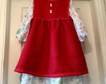 A Beautiful Pinafore Dress And Hat Aged 5to6 years