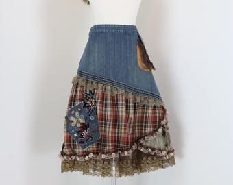 1990s Skirt - Denim Jean A-line Boho Skirt - Ruffle Hem Patchwork - Plaid Tulle Velvet - Embellished Sequinned Beaded Lace - Size Small 27""