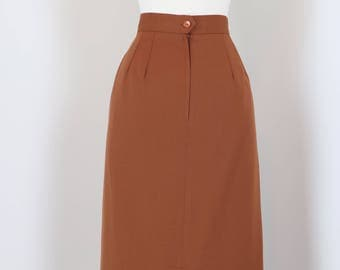 "1980s 90s Pencil Skirt - Classic - Designer Simon Chang - Brown - High Quality - Fine Wool - Vintage - Size Small 27"" Waist"