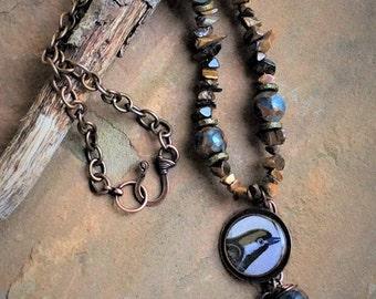 Necklace WoodlandJewelry Earthy Blue Brown CopperJewelry Gemstone Bird Handmade