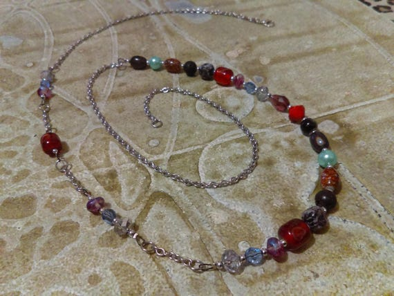 Beaded Chain Necklace Beautiful Statement Piece Handmade Colourful Glass Crystal Beads Aqua Pearls Lava Rock Stainless Chain