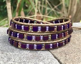 Purple Cube Beaded Leather Wrap Bracelet/Beaded Anklet/Chan Luu Style/Stack Bracelet/Layer Bracelet/Triple Wrap/Seed Bead/Boho/Gift for Her