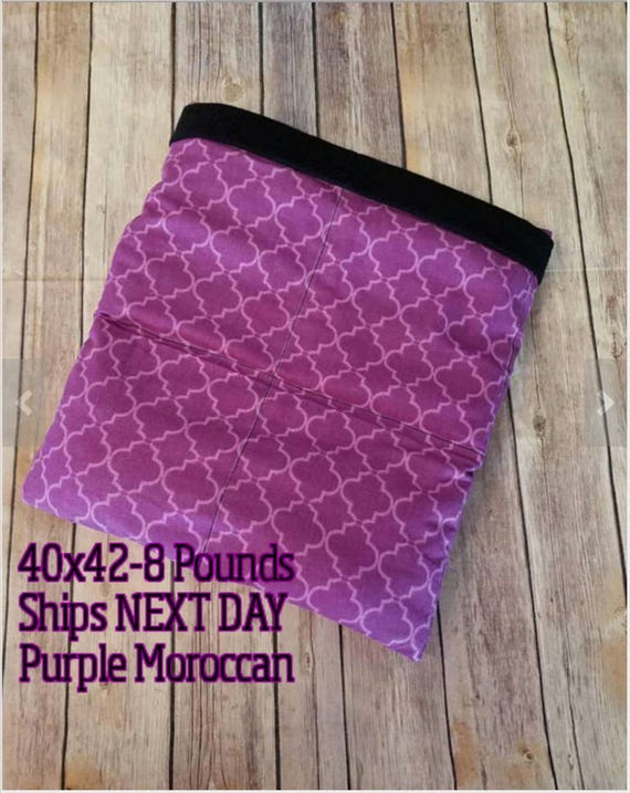 Purple Moroccan, 8 Pound, WEIGHTED BLANKET, Ready To Ship, 8 pounds, 40x42 for Autism, Sensory, Calming