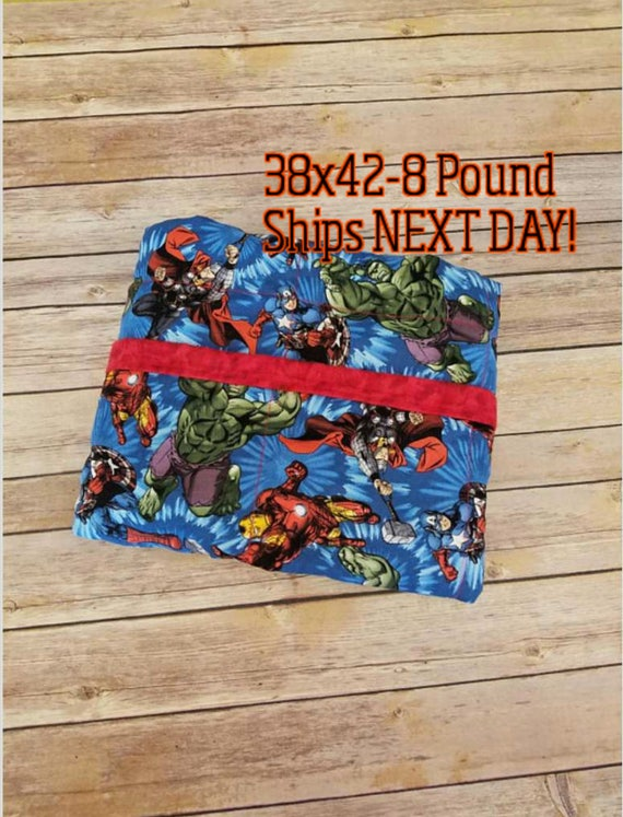 Super Hero, 8 Pounds, WEIGHTED BLANKET, Ready To Ship, 8 pounds, 40x42 for Autism, spd, ptsd, adhd, calming blanket