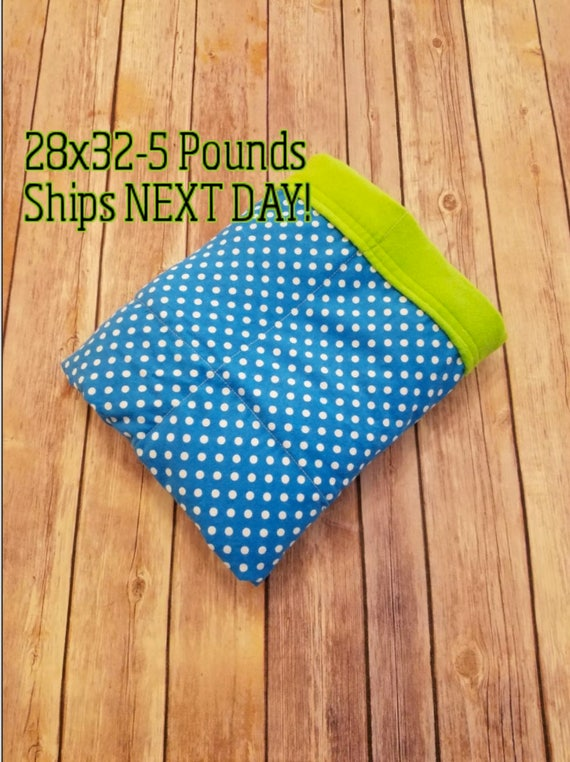 Dots, 5 Pound, WEIGHTED BLANKET, Ready To Ship, 5 pounds, 28x32 for Autism, Sensory, ADHD, Calming, Anxiety,