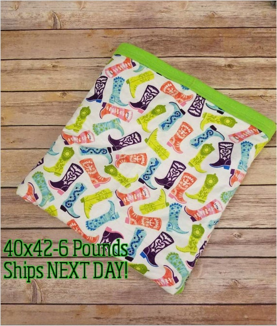 Boots, 6 Pound, WEIGHTED BLANKET, Ready To Ship, 6 Pounds, 40x42 for Autism, Sensory, ADHD, Calming