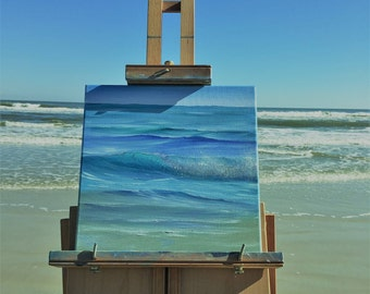 Atlantic Ocean Painting, Coastal Landscape, Blue Sea Painting, Beach Wall Art, Ocean Scene, Original Seascape Oil Painting, Daytona Surf