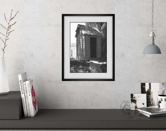Bathroom Wall Art - Vintage Outhouse Photo Matted and Framed - Powder Room Art - Rustic Modern Decor - Funny Bathroom Art - Wall Decor