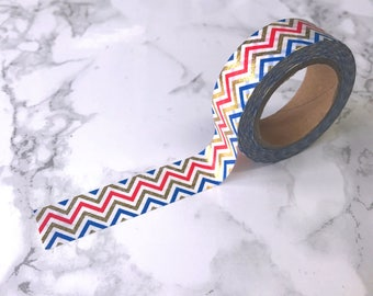 Red, Blue & Gold Foil Chevron Washi Tape // Decorative Paper Masking Drafter Planner Scrapbooking Tape