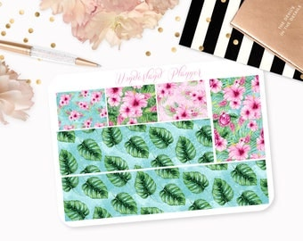 Aloha - Tropical Floral Themed Planner Stickers // Washi Strips // Perfect for Erin Condren Vertical Life Planner