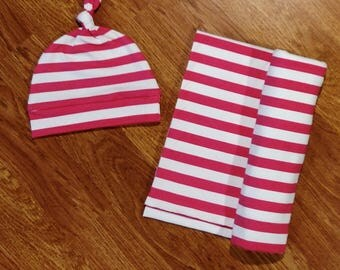 Baby Girl Swaddle Set, blanket, knotted hat, stripe, striped, shower gift, hospital gift, hot pink, white, newborn, preemie, photo prop