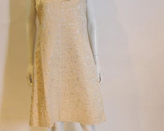A vintage 1960s Gold Brocade Shift Dress in cream M