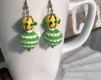 Earrings, green and yellow accessories