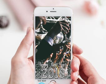 New Years Eve Snapchat Geofilter, New Years Eve Snapchat Template, You Edit, Custom Snapchat Geofilter, New Years Snapchat Filter, DIY