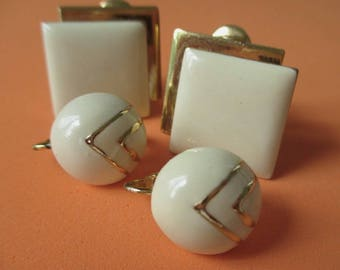Earrings *Enamel And Gold Tone * Round And Square * One MONET * Lot Of Two Pair Of Vintage Earrings
