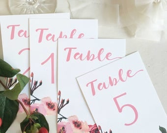 Floral Table Numbers, For Wedding Tables, Wedding Table Numbers, Table Numbers Floral, Table Numbers Printed, Table Numbers Calligraphy