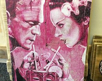 Frankensteins Monster and Bride of Frankenstein  Wood Art Valentine Day Love Tiki