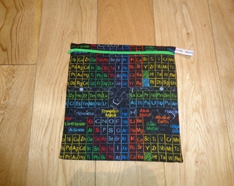 Sandwich bag  - Baggie - Eco - Snack Bag - Bikini Bag - Lunch Bag - Tool Bag - Large Poppins Waterproof Lined Zip Pouch  - Periodic Table