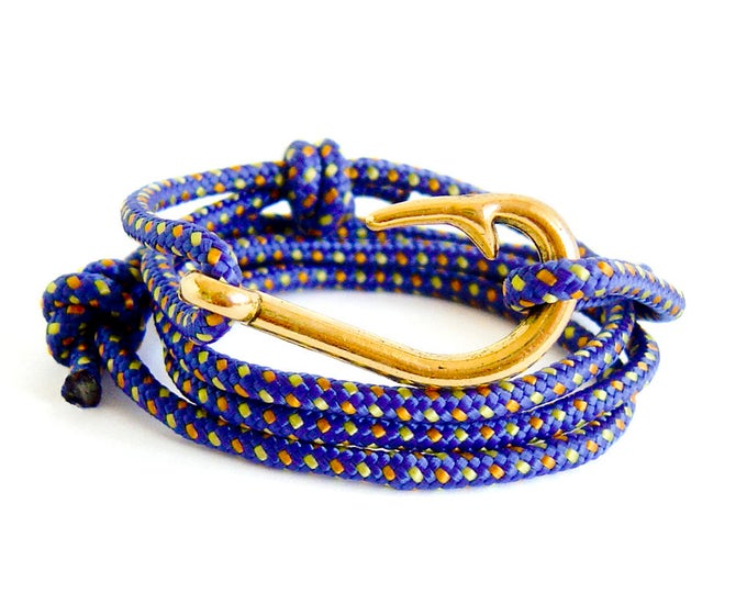 Adjustable Bracelet, Adjustable Bracelet Gold Hook, Adjustable Bracelet Men With Gold Fishing Hook, Nautical Paracord Rope And Knot