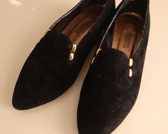Black Velvet Loafer Slip Ons