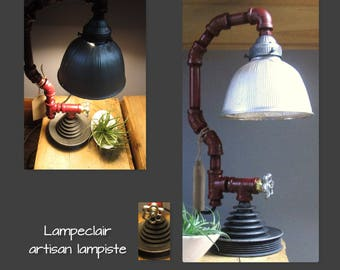 Table lamp - industrial look - Christmas gift, Table lamp - industrial look - anniversary gift - red piping