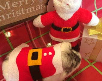 Christmas Guinea Pig Costume- Santa Claus. Small Pet Costume. Cute Unique and Handmade Christmas Gift