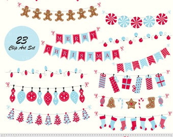 Christmas Bunting Banners, String Lights Clip Art, Christmas Bunting Red Blue Clipart, Instant Digital Download Vector Clip Art