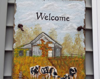 Hand Painted Cows in the Pasture Welcome Slate