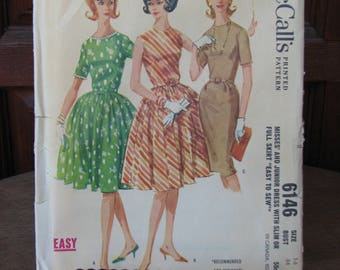 Vintage Uncut Sewing Pattern,  1960s Dress Pattern, McCall's 6146, 1960s Dress with Slim or Full Skirt Sewing Pattern