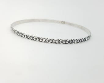 Vintage Etched Swirl Design Sterling Silver Bangle Bracelet
