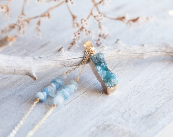 Druzy Necklace, Boho Druzy Necklace, Blue Agate Necklace, Blue Druzy Agate Necklace, Boho Luxe, Long Boho Necklace Boho Statement Necklace