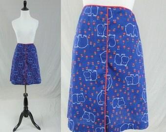 "70s Hippo Print Skirt - Navy Blue White Red Green - Built In Shorts - Novelty Print - Meadowbank - Vintage 1970s Golf Skort - 30"" waist"