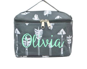 Gray Arrow Cosmetic Bag - Personalized or Monogrammed