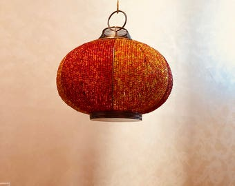 "Beaded Hanging Pendant Candle or Tea Light Lantern 9"" Across at Widest Point 9 1/2 Tall with 24"" Chain"