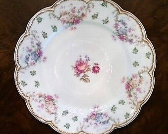 Rare, Antique Haviland Limoges Schleiger 72 Salad Plate, Haviland Limoges French Salad Plate, Double Gold, 1881 to 1931, 5 Available
