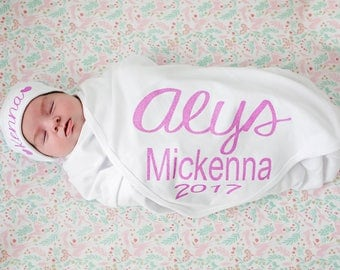 Personalized white and pink newborn name blanket - personalized knit baby girl swaddle blanket -customized name blanket - newborn photo prop
