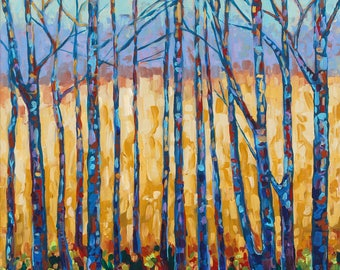 Traverse City Field and Forest, Tree Study, Branches, Golden Field, Gold and Blue, Fine Art Print, Giclee, Canvas Print