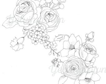 Garden Bouquets coloring book page; adult coloring book; instant digital download
