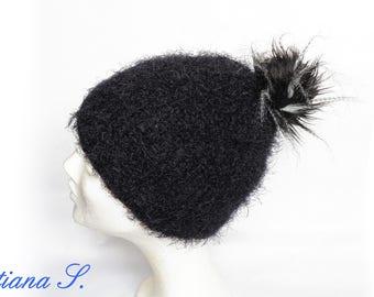 Bobble Black wool knit cap beanie One size