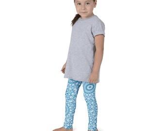 Leggings Girls Cerulean Blue Yoga Pants for Kids, Children's Activewear