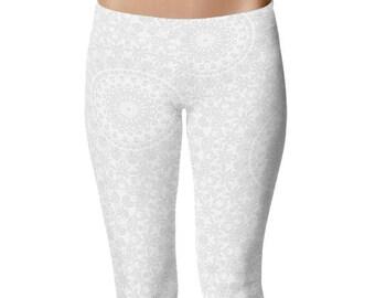 White Yoga Leggings, White Leggings, White Printed Leggings, Mandala Art Tights, Stretch Pants